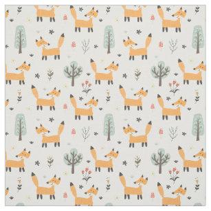 Green Woodland Creatures Kids Fabric Baby Nursery Cotton Fabric Bear Fox Fabric