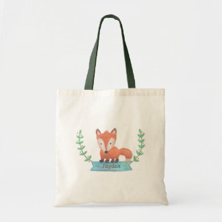 Cute Woodland Fox Personalized Kids Tote Bag