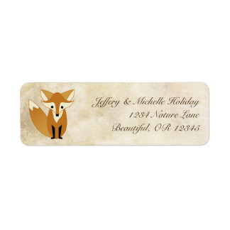 Cute Woodland Fox with Natural Grunge Background Label