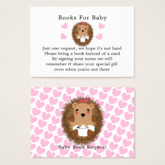 Cute Woodland Hedgehog Baby Shower Book Request Business Card