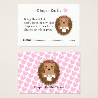 Cute Woodland Hedgehog Baby Shower Diaper Raffle Business Card