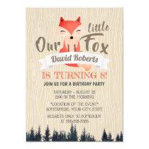 Cute Woodland Little Fox 8th Birthday Party Card