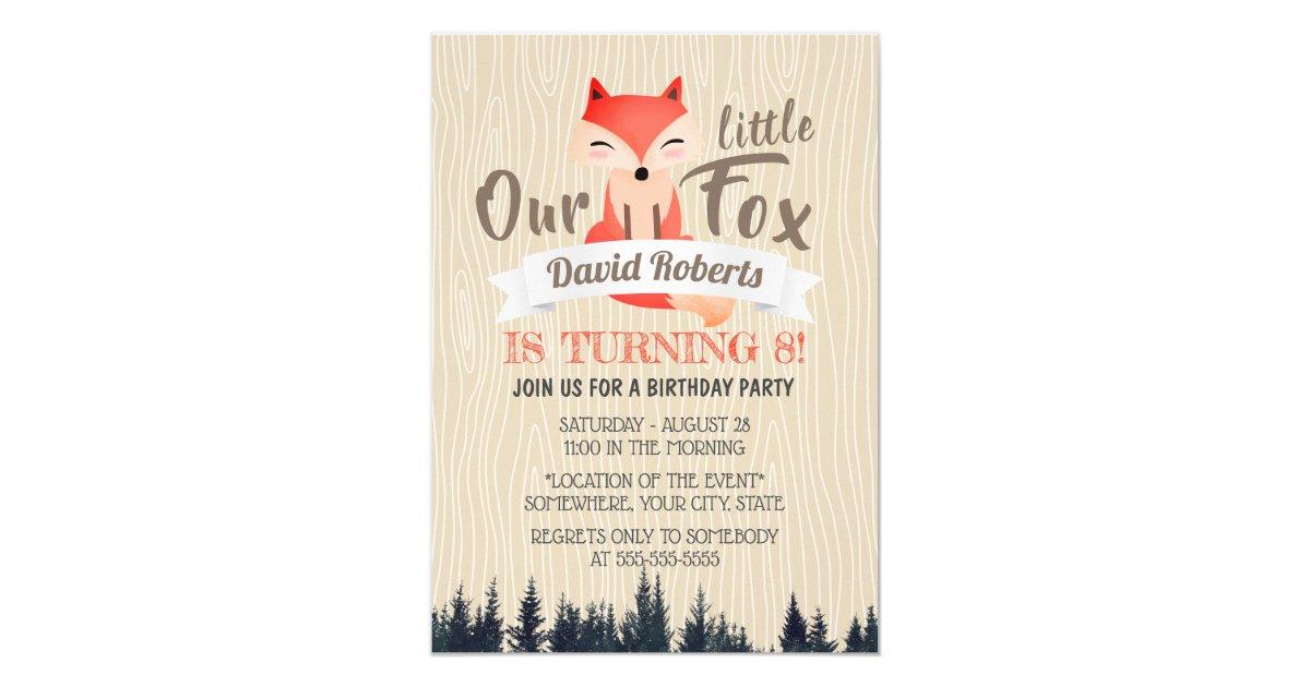 Cute Woodland Little Fox 8th Birthday Party Invitation
