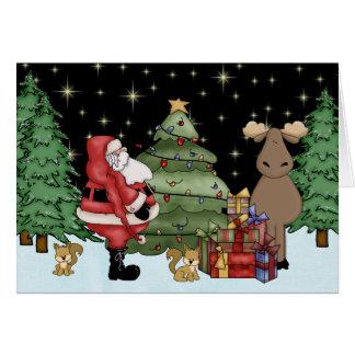Cute Woodland Moose and Santa Christmas Card
