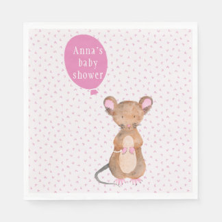 Cute Woodland Mouse Baby Shower Paper Napkins