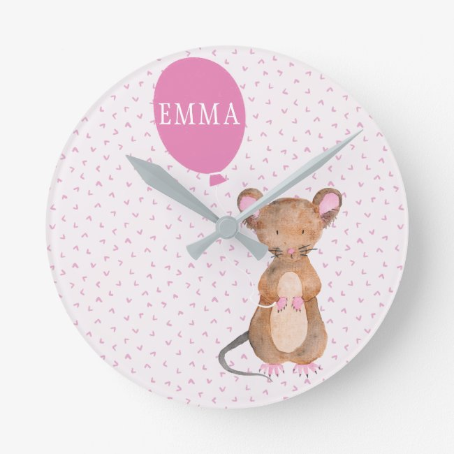 Cute Woodland Mouse Kids / Nursery Wall Clock