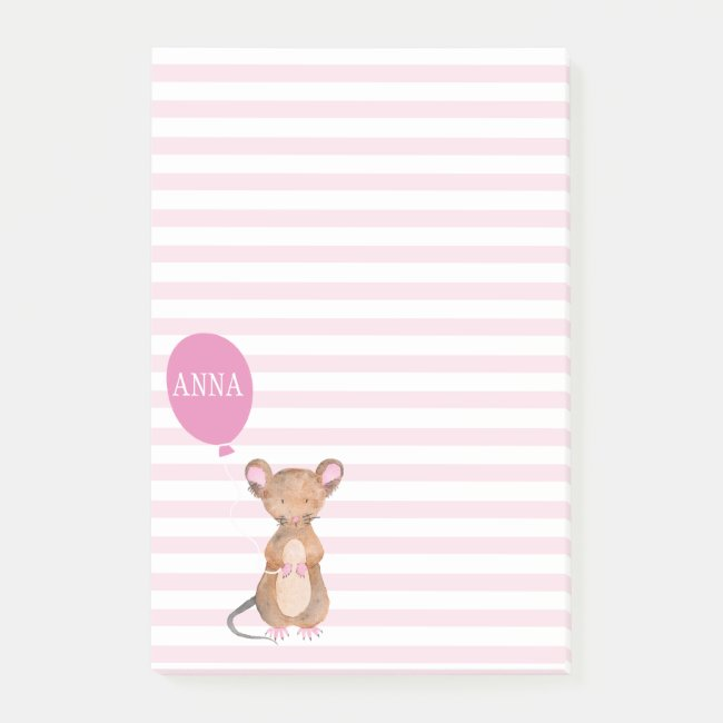 Cute Woodland Mouse | Personalized Post-it Notes