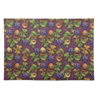 Cute woodland oak creature pattern placemat