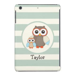 Cute Woodland Owls; Light Sage Green iPad Mini Covers