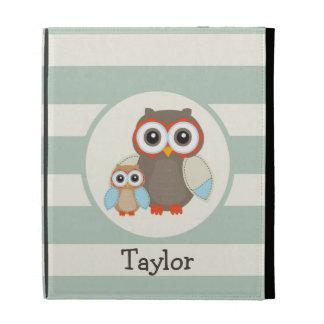Cute Woodland Owls; Light Sage Green iPad Case
