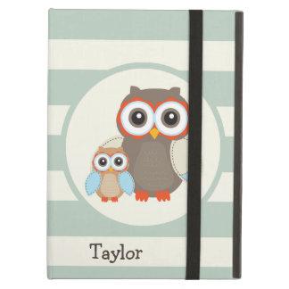 Cute Woodland Owls; Light Sage Green iPad Air Cover