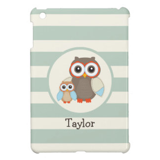 Cute Woodland Owls; Light Sage Green iPad Mini Case