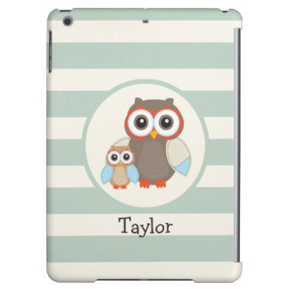 Cute Woodland Owls; Light Sage Green Cover For iPad Air