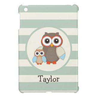 Cute Woodland Owls; Light Sage Green iPad Mini Cover