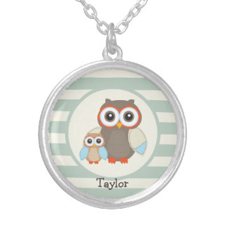 Cute Woodland Owls; Light Sage Green Round Pendant Necklace