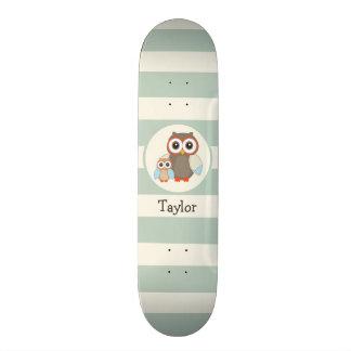 Cute Woodland Owls; Light Sage Green Skate Board Decks