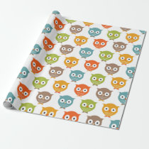 Cute Woodland Owls Wrapping Paper