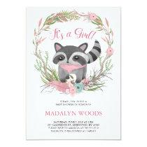 Cute Woodland Raccoon Baby Shower Invitation