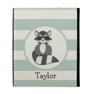 Cute Woodland Raccoon; Light Sage Green iPad Case