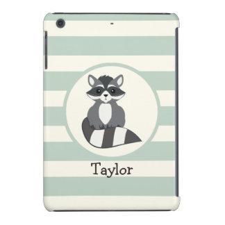Cute Woodland Raccoon; Light Sage Green iPad Mini Retina Case