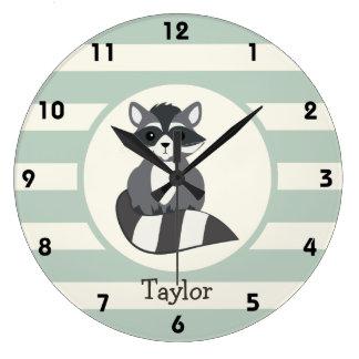 Cute Woodland Raccoon; Light Sage Green Clock