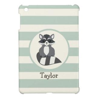 Cute Woodland Raccoon; Light Sage Green iPad Mini Case