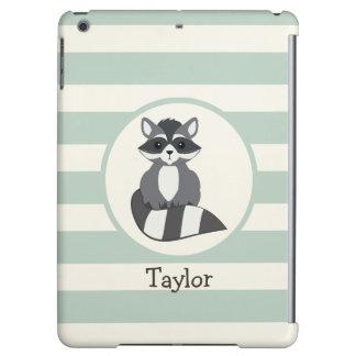 Cute Woodland Raccoon; Light Sage Green Case For iPad Air