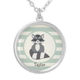Cute Woodland Raccoon; Light Sage Green Round Pendant Necklace