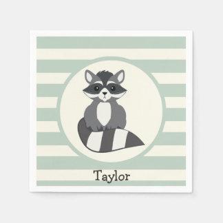 Cute Woodland Raccoon; Light Sage Green Paper Napkin