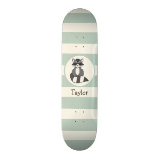 Cute Woodland Raccoon; Light Sage Green Skateboard Deck