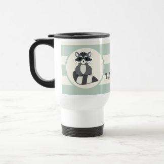 Cute Woodland Raccoon; Light Sage Green Travel Mug