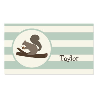 Cute Woodland Squirrel on Light Sage Green Business Card