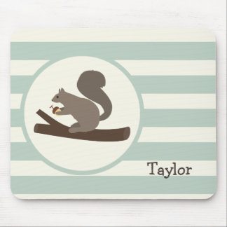 Cute Woodland Squirrel on Light Sage Green Mouse Pad