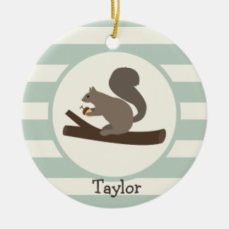 Cute Woodland Squirrel on Light Sage Green Ornament
