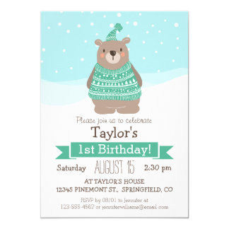 Cute Woodland Winter Bear, Kid's Birthday Party 5x7 Paper Invitation Card