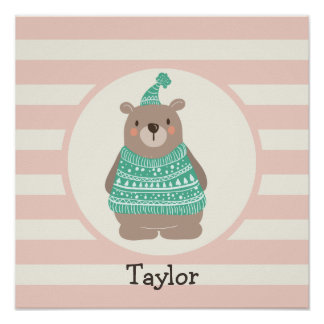 Cute Woodland Winter Bear; Teal Green, Pastel Pink Posters