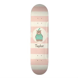 Cute Woodland Winter Bear; Teal Green, Pastel Pink Skateboard Deck