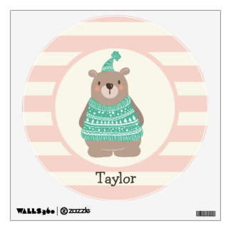 Cute Woodland Winter Bear; Teal Green, Pastel Pink Wall Skin