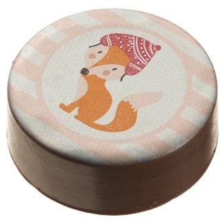 Cute Woodland Winter Fox Chocolate Dipped Oreo
