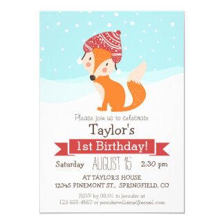 Cute Woodland Winter Fox Kid's Birthday Party 5x7 Paper Invitation Card
