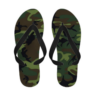 Cute Woodlands Camouflage Pattern Flip Flops