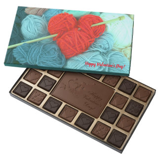 Cute wool heart with knitting needle photograph 45 piece box of chocolates