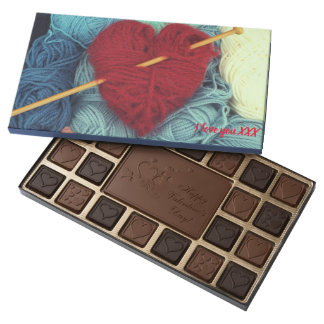 Cute wool heart with knitting needle photograph assorted chocolates