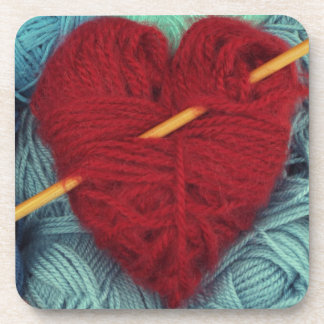 cute wool heart with knitting needle photograph beverage coaster