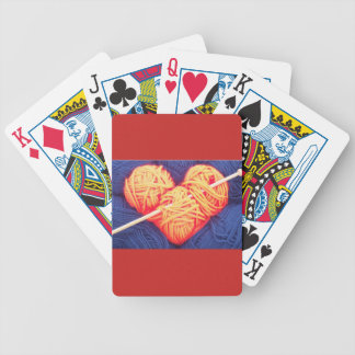 Cute wool heart with knitting needle photograph bicycle playing cards