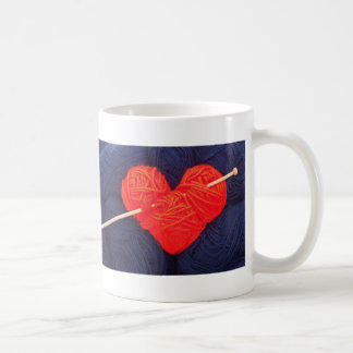 Cute wool heart with knitting needle photograph coffee mug