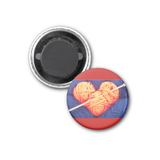 Cute wool heart with knitting needle photograph magnet