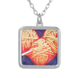 Cute wool heart with knitting needle photograph silver plated necklace