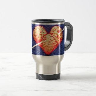 Cute wool heart with knitting needle photograph travel mug