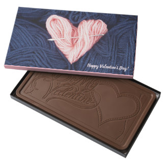 Cute wool heart with tapestry needle photograph milk chocolate bar